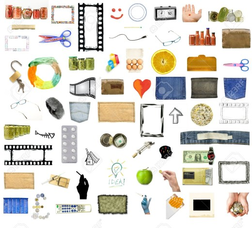 11726705-Collection-of-many-objects-isolated-on-white-background-Stock-Photo